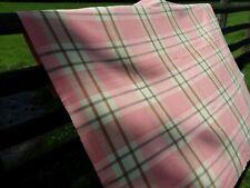 French vintage woolen pink check wool blanket