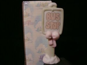Precious Moments Sugar Town-Bus Stop Sign-Retired 1997