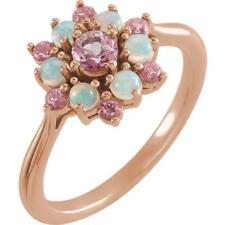 14K Rose Gold Baby Pink Topaz and Ethiopian Opal Floral Style Ring