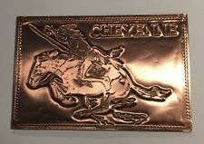 VTG Kopper Kard Postcard Copper Card Indian Cheyenne Horseback Warrior A7