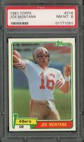 1981 Topps Football Joe Montana ROOKIE RC Card # 216 PSA 8 NM - MINT ++