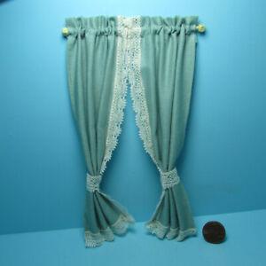 Dollhouse Miniature Tie Back Ruffle Curtain in Sage Green B55608