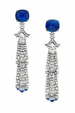 3.00Ct Blue Sapphire Cushion Fancy Dangle Women Earrings In 925 Sterling Silver