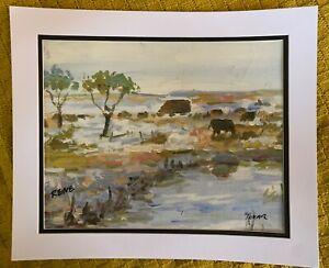 Vintage original oil painting signed Rene Tovar landscape