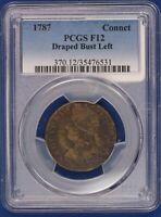 1787 Connecticut Copper. Draped Bust Left PCGS F12. ET1534A/BNQ