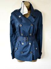 £585 BURBERRY BRIT 14 Navy Nova Check Collar Military Trenchcoat Rain Coat Mac
