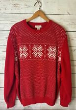Dockers Sweater Red Nordic Snowflake Cotton EXCELLENT Sz L