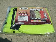2XL Lime Green Tough 1 PVC/Vinyl Riding Slicker raincoat w/ Removable Hood