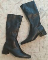 ENZO ANGIOLINI WOMEN'S BLACK LEATHER SIDE ZIP HEELED SQUARE TOE BOOTS SIZE 8M