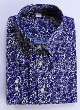Ex M&S REGULAR FIT DARK BLUE PAISLEY SHIRT SUPIMA COTTON  14.5-18.5 B14