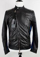 NWT DSQUARED2 Black Blue Studded Leather Asymmetrical Moto Cafe Jacket Bieber 40