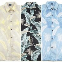 Hibiscus Collection Men's Hawaiian Aloha Shirt - Shadow Palm Print