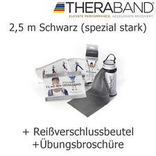 Theraband Original Übungsband Fitnessband 2,5 m Schwarz mit Reißverschlusstasche