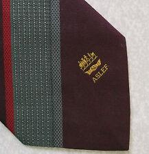 Aslef Cravatta VINTAGE CON MACCHINISTI SINDACATO Borgogna a righe 1990 S