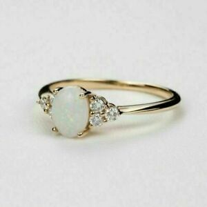 2Ct Oval Cut Fire Opal & Diamond Women's Engagement Ring 14K Yellow Gold Finish