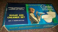Corelle Livingware Snowflake Blue sugar & creamer New in original Box with Lid