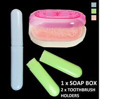 3PC Portable Soap Box Toothbrush Holders Travel Case Plastic Container Protector