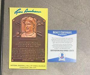 Lou Boudreau Signed Yellow HOF Plaque Beckett BAS COA Indians Auto