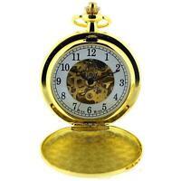 Boxx Mens Goldtone Skeleton Mechanical Pocket Watch 12 Inch Chain Boxx243