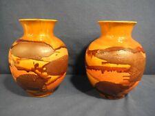 "2 Vtg Royal Haeger Pottery Vases Mid Century Modern Earth Wrap Lava Drip 9"""