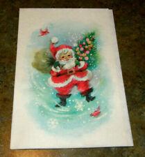 Vintage Glittered Christmas Card Happy Santa Claus Unused+env