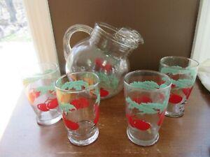 5 pc Vintage Retro glass juice set Ball pitcher 4 glasses red Cherries