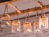 """Windlicht Hänger """"Wittdün"""" 5er Set Glas mit Kordel. Teelichtglas"""