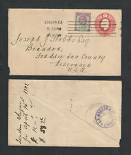 1908 Great Britain Sc # 129 + 1p Stamped Envelope Cover To Usa