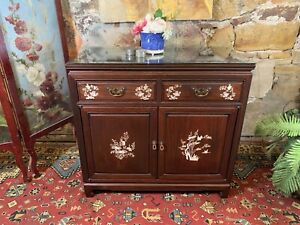 Vintage Chinese Oriental Rosewood Cabinet~Mother of Pearl Inlay~Drawers