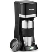 VonShef One Cup Personal Coffee Maker Single Serve Black  14oz 650W