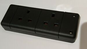2 Gang Trailing Socket. 2 Way 13A Rewireable Extension Socket BLACK Twin double
