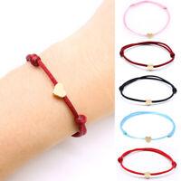 2PCS Women Cord String Heart Bracelet Red Rope Bangle Lucky Bracelets Jewelry