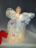"12"" Lights Angel Christmas Tree Topper Porcelain Head Hands Animated Motion-ette"