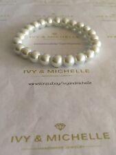 Glass Pearl White Beaded Stretch Bracelet