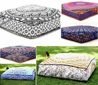 Indian Square Mandala Floor Pillow Case Boho Throw Cushion Ottoman Pouf Dog Bed