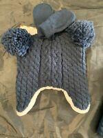 Baby Blue Knit Hat & Mitten Glove Set - NAVY BLUE Cat & Jack NEWBORN 0-6M #21
