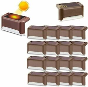 16 pack Solar Powered LED Deck Lights Outdoor Path Garden Stair Step Fence Lamp
