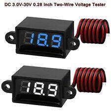2pcs Mini Digital Dc Voltmeter 028 Inch Two Wire 30v 30v Waterproof Dustproof
