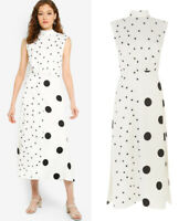 Warehouse NEW Womens White & Black Mixed Polka Dot Midi Dress Sizes 6 to 18