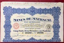 Mexique 1926 Action Durango Mines de Matracal Amérique