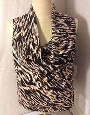 New $59 Calvin Klein Suits Animal Print Top Scoop Neck Brown Tan White NWT