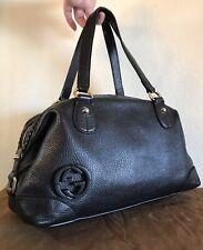 Gucci Black Leather GG Handbag Medium Pebbled Braided Interlocking G Tote Bag