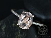 Morganite Diamond Ring 14K Rose Gold,Oval Cut 10x8mm, Size 6