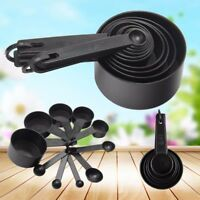 10pcs Black Plastic Measuring Spoons Cups Measuring Set Tools For Baking Coffee