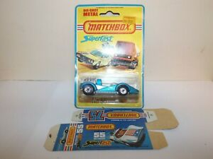 MATCHBOX S/F NO.55-C HELLRAISER BLUE BODY, PAINTED BASE, NO LABEL MIBLISTER W/BO