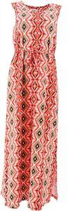 Denim & Co Slvless V-Neck Print Maxi Dress Deep Coral XXS NEW A254466