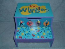 The WIGGLES Wooden Step Stool Storage Bin Child Kid Blue Big Red Car