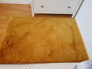 Luxury Faux Rabbit Fur Ochre Mustard yellow Rug Mat Carpet Bedroom Lounge Hall