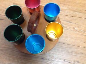 vintage metal cups with wood carring container