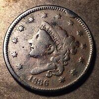 1836 Large Cent 1c Matron Head Full Liberty Rim Cud N-6 Variety
